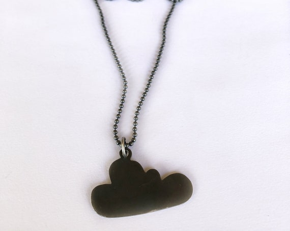 Double-Sided Cloud Necklace / Handcrafted Jewelry / Silver Cloud Pendant / Black Cloud Pendant / Two-tone Cloud Pendant / Handcrafted Silver