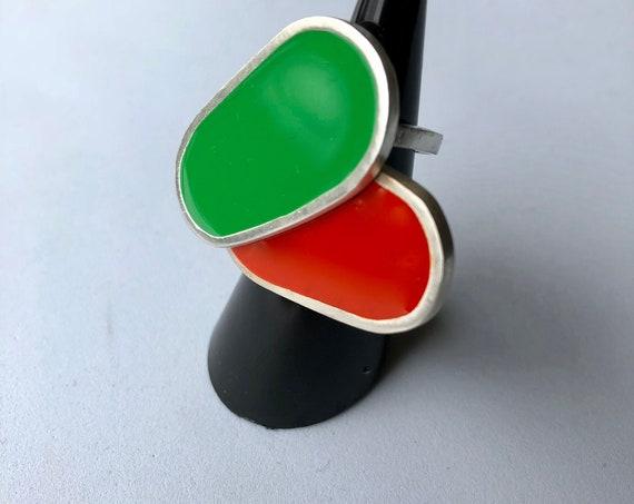 Retro-inspired Resin Statement Ring/Handcrafted Jewelry/Silver & Resin Ring/Handcrafted Silver Jewelry