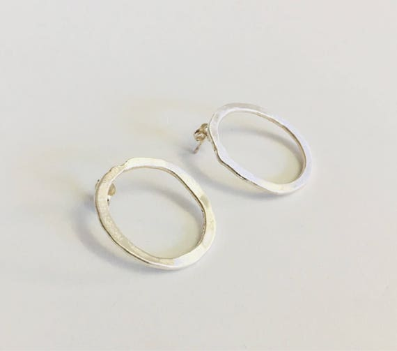 Large Oval Studs / Handcrafted Jewelry / Silver Earrings / Fine Silver Earrings / Handcrafted Silver Jewelry