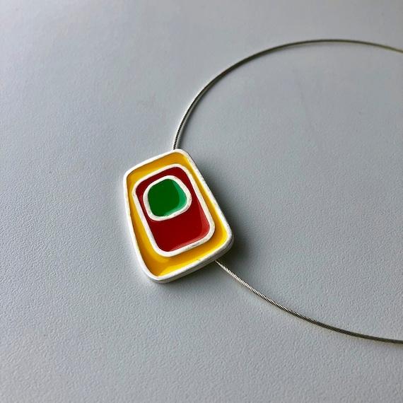 Retro-inspired Choker Pendant/Handcrafted Jewelry/Silver & Resin Pendant/Handcrafted Silver Jewelry
