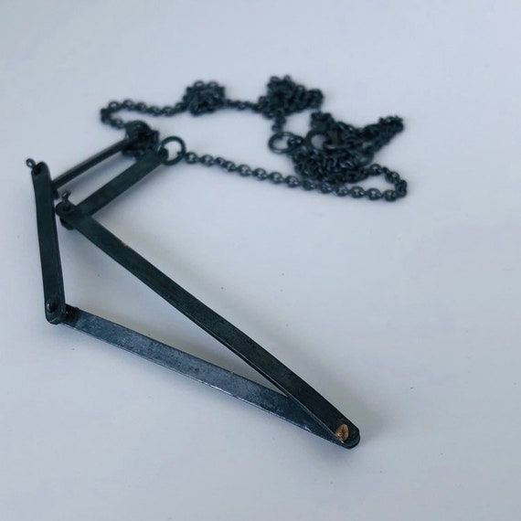 Oxidised Silver Necklace with Gold Rivet / Handcrafted Jewelry / Statement Necklace / Handcrafted Silver Jewelry