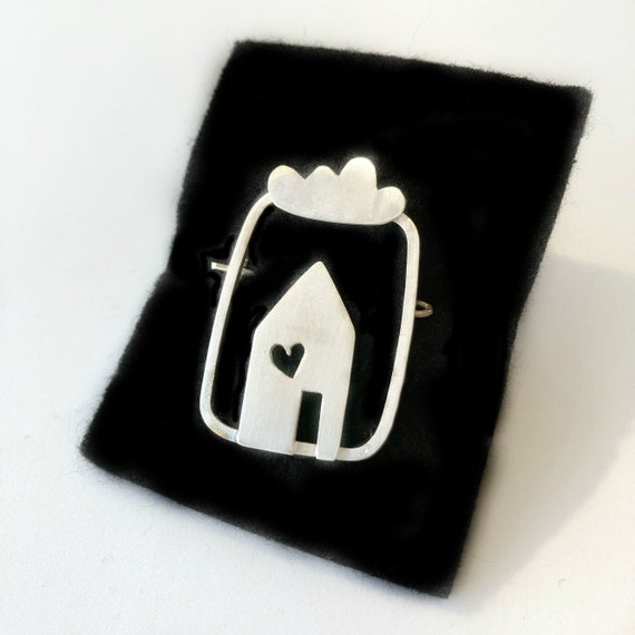 Silver Brooch / Handcrafted Jewelry / Home is where the Heart is / House & Cloud Brooch /Handcrafted Silver Jewelry