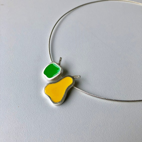 Retro-inspired Silver Resin Pear and Apple Pendant/Handcrafted Jewelry/Silver and Resin Choker/Handcrafted Silver Jewellery