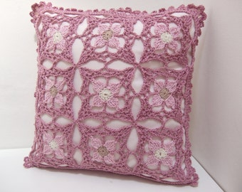 Crochet Flower Lace Cushion Cover
