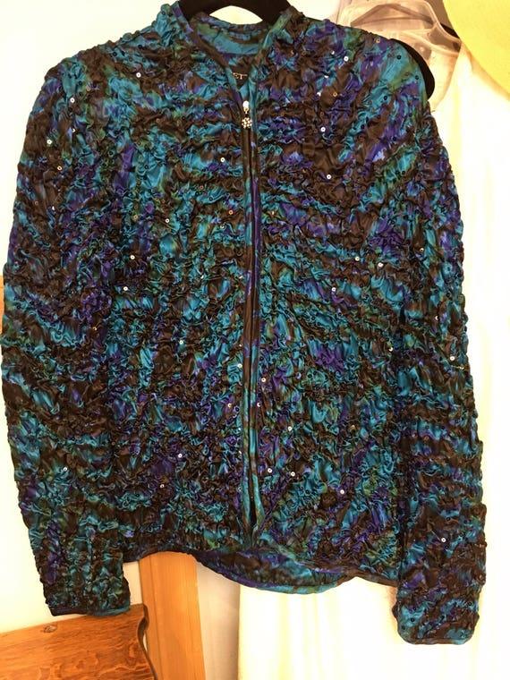 4f39f321b Ladies Turquoise Black Fancy Jacket size L Like New
