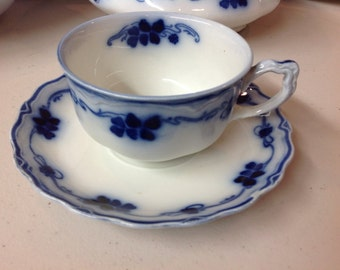 Flow Blue Clover Cup & Saucers Grindley England
