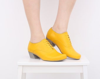 d1997cc09755 Yellow womens shoes low heel , wide leather shoes for woman handmade free  shipping ADIKILAV