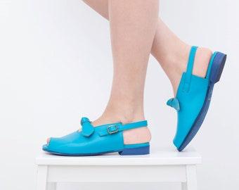 Women's leather sandals light Blue flat Open toe slingbacks handmade ADIKILAV free shipping
