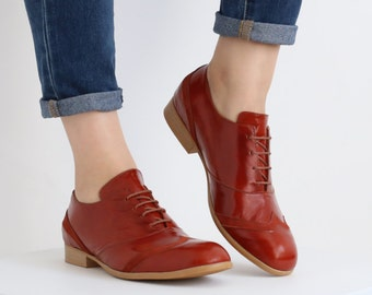 womens oxford shoes , red outdated , free shipping , ADIKILAV Burnt orange