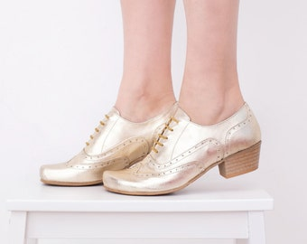 Gold Shoes, Women's Oxfords Heels Shoes Wide leather Handmade Brogues adikilav