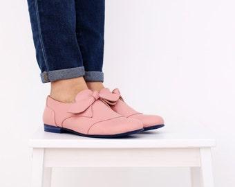Leather Shoes pink pastel women's flats handmade ADIKILAV ,