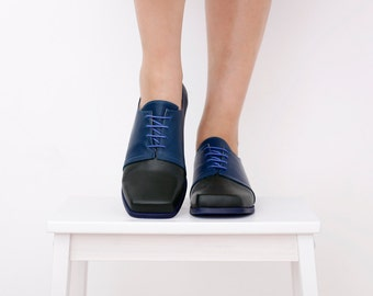 Womens oxford shoes, leather flats, handmade blue and green square toe lac-up , ADIKILAV , ON SALE