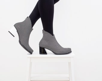 46782b4bfd595b Womens leather boots black and white poke dots leather funky dress boots  heel ankle boots