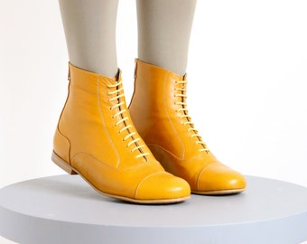 af0b1f6e1a49 Yellow Leather Booties shoes