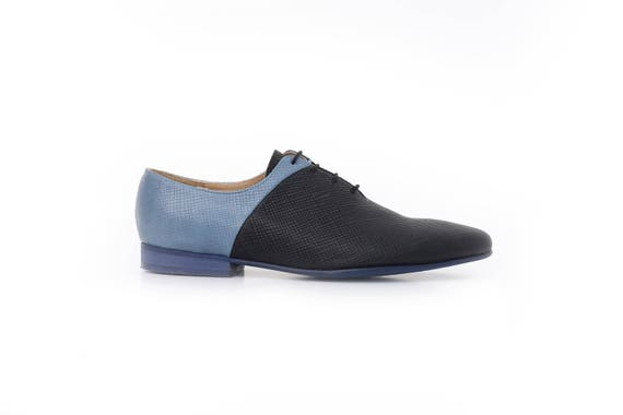 leather Women's flats pointy shoe shoes shipping Blue ADIKILAV unique wide new handmade black free shoes wTrT5qxX