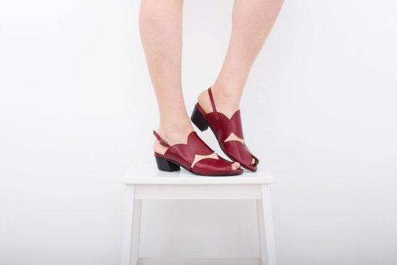 femmes Bourgogne du d orteils cuir avec sandales talon pour en bas sandales sandales Robe peep de T5qq0