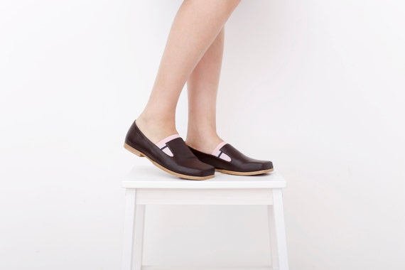 des brun appartements chaussures fait Ons marron cuir en Slip femmes Les roses mocassins et Zq5fawFXFx