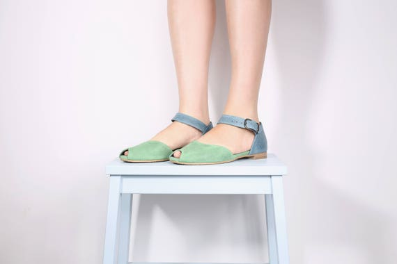 blue green leather Peep handmade sandals ADIKILAV sandals sandals toe handmade and leather 488qrP5Yw
