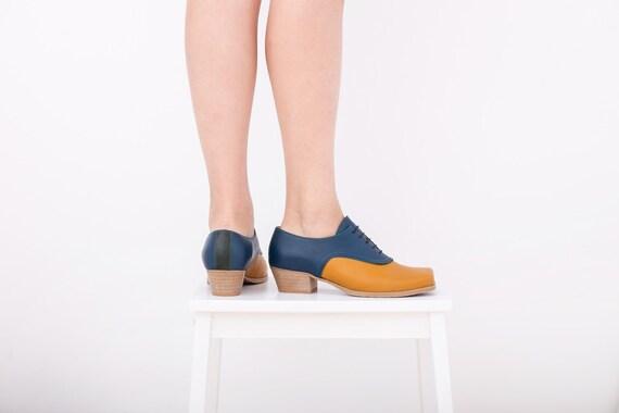 e91241e21dadc Oxford chaussures talon bleu et jaune en cuir à talons talons talons ...