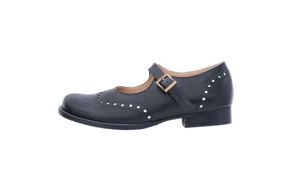 free Mary brogues Black Janes handmade ADIKILAV shipping women's wide leather shoes Tw80xwq