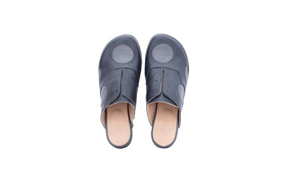 adikilav free gray handmade shipping leather slides wide women's Flat shoes shoes dots mules polka open back q7SOxwX