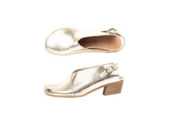 Slingback bas femmes talon Chaussures toe cuir chaussures large fait or sandales fermer 5FwTgfqx