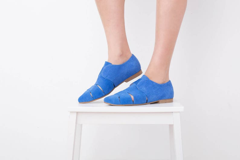 069f856c8f15d Womens Pointy Flats Blue Leather shoes , Slip Ons Cutout Summer Shoes  handmade Loafers suede Trendy sandals , ADIKILAV On Sale