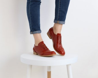 womens oxford shoes , red outdated , free shipping , ADIKILAV
