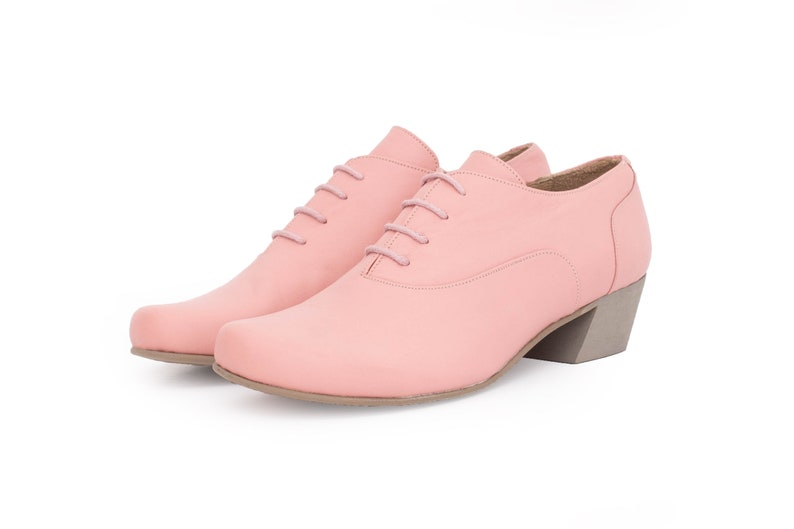 290b2c2982bfe Pink women's shoes low heel , wide leather shoes for woman handmade free  shipping ADIKILAV
