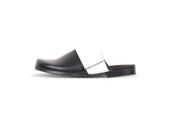 slides free mules shoes adikilav shipping with mule close white flat Black toe strap leather handmade wide THn01w4q