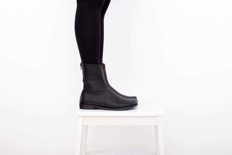 dd387fe63840 Black leather boots flat mid calf handmade for womens ADIKILAV