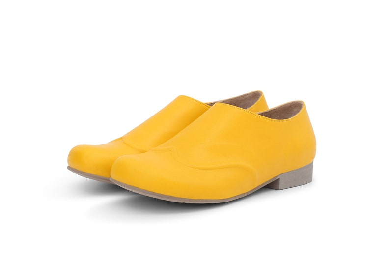 dd333cf920a28f Women s yellow Shoes Wide Leather Slip Ons flat shoes