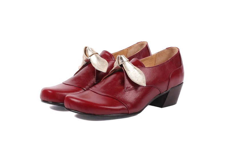 45201fc07fa42 Women's leather shoes burgundy chunky low heel bow Shoes ADIKILAV free  shipping
