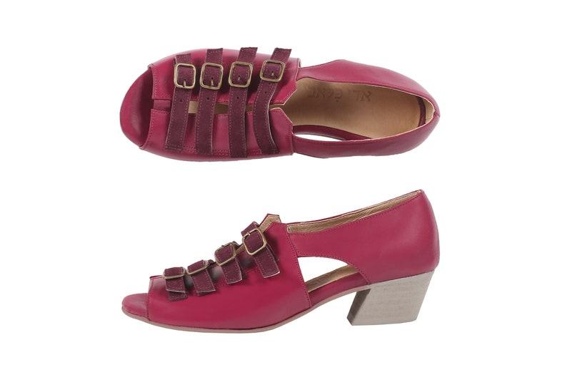 8007359042314 low heel sandals for women in Marsala Bordeaux leather