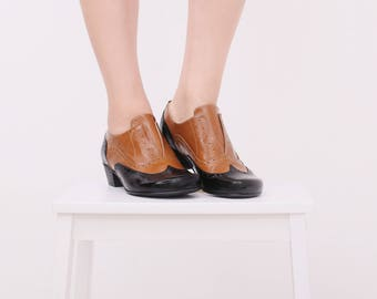 Leather shoes womens oxford patent Black and camel heels oxfords handmade ADIKILAV