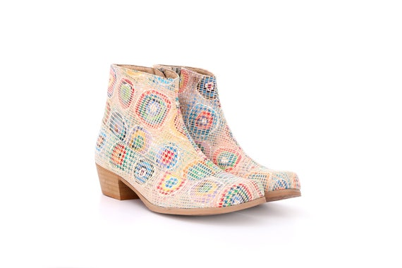 booties Ankle colorful chunky boots with free handmade Women's heel boots leather ADIKILAV shipping light fxCqWWwt0I