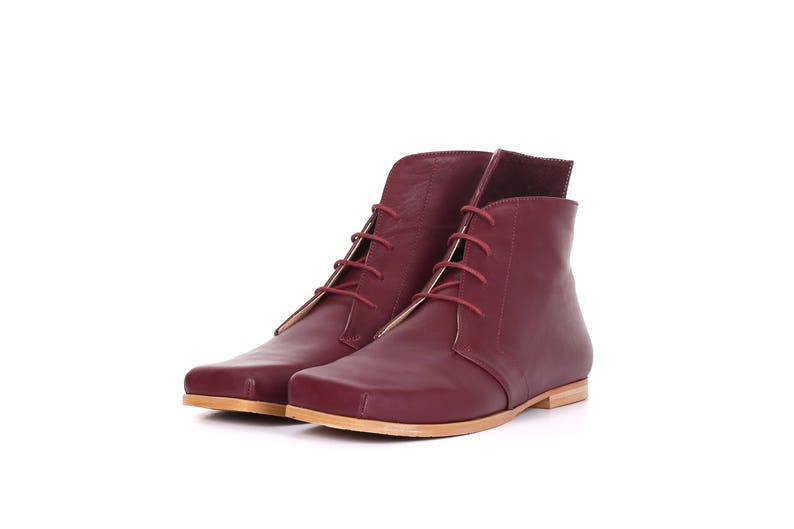 e31d706093479 Wide Flat Boots Purple Leather Booties shoes lace up