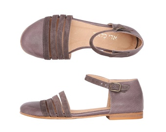 Gray flats classic leather women's shoes handmade