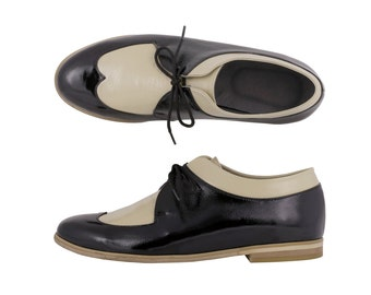 Womens oxfords, black and crame patent leather womens handmade shoes , flats , adikilav