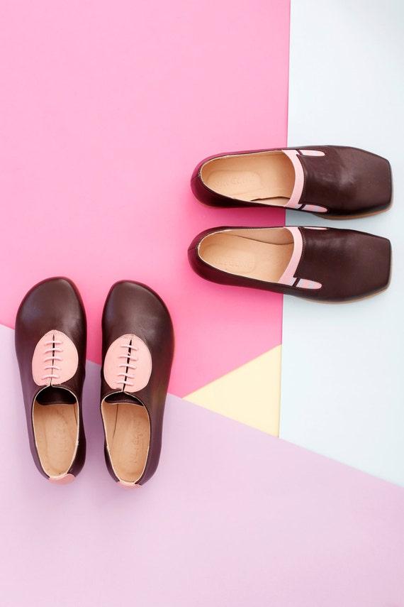 d cuir pour femmes Chaussures en plates avec main marron fait qSzwYBxwP