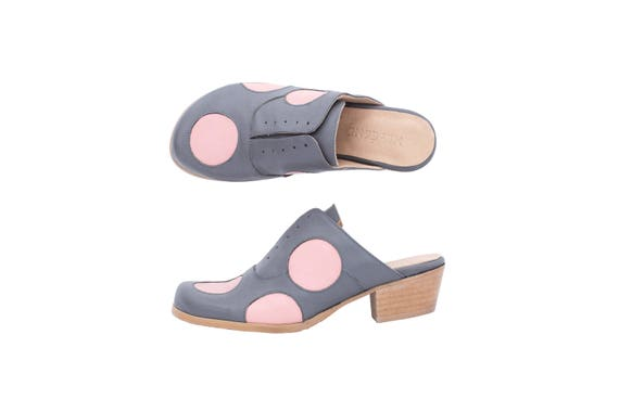 gray leather Women's pink free dots Mules shipping handmade low and polka heel adikilav slides shoes xqYIBqnCz