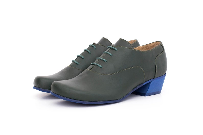 ebef1b96af99a Oxford shoes green leather low heel Womens shoes handmade wide , free  shipping , ADIKILAV
