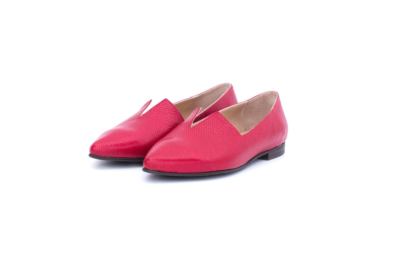 fbf560f4021a8 Women's pointy flat, Red leather shoes handmade free shipping ADI KILAV