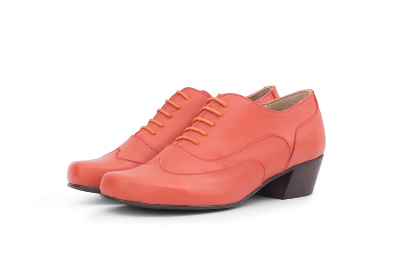 a6d721f1f7781 Womens oxfords wide low heel shoes Burnt orange leather handmade free  shipping adikilav