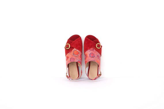 a metal Slingback shipping ADIKILAV sandals Wide On heels Red leather free with buckles red Sandals Women's Sale Handmade wnqzYvB