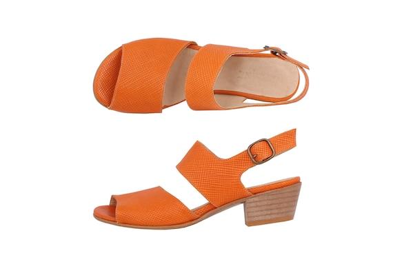 heeled sandals Orange shipping buckle sandals free metal Slingbacks Leather handmade ON adikilav with SALE E8qZFSSW
