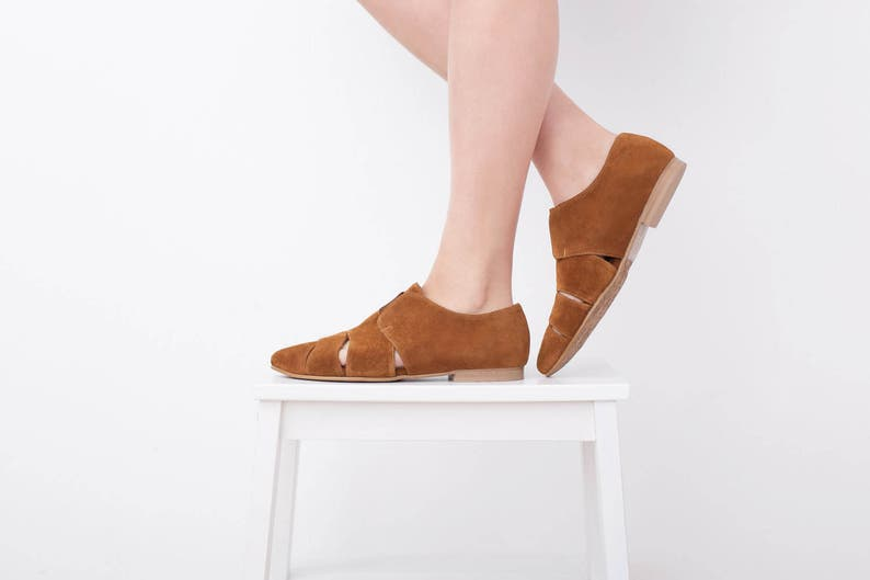 cb6167bcafd5d Womens Pointy Flats , Leather shoes brown Slip Ons Cutout Summer Shoes  Woman handmade Loafers suede , ADIKILAV On Sale
