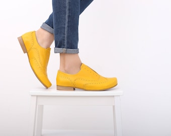 Yellow shoes , Women's oxfords shoes wide Leather shoes , handmade leather flats ADIKILAV free shippping