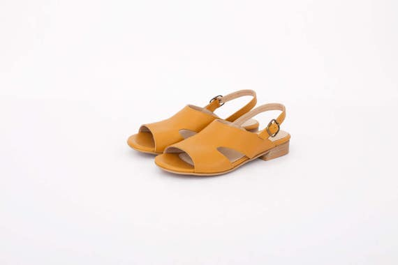 fd09fc2ace783 Slingbacks Wide sandals Sandals with Leather buckle Sale Cutout ...