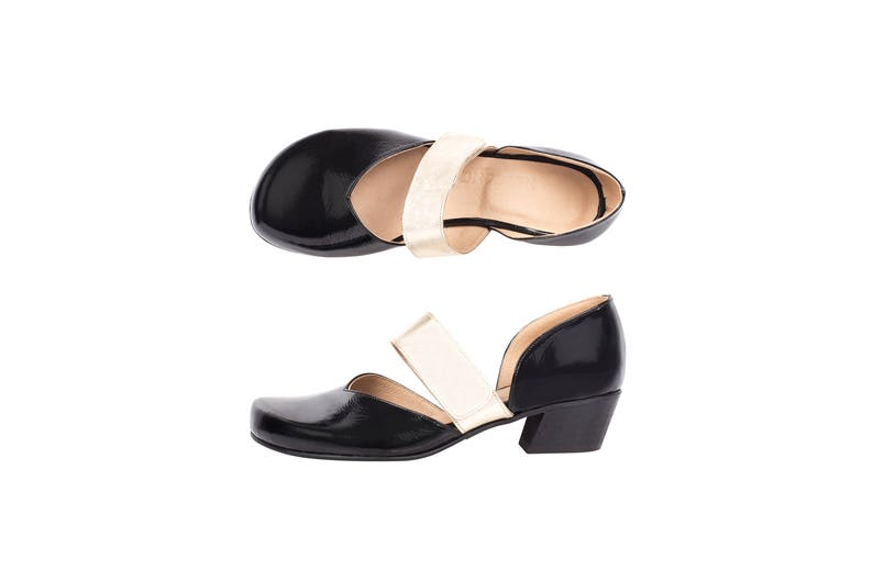 e68afda74db9b Women's dress shoes low heel black patent leather with gold leather strap  handmade , ADIKILAV free shipping